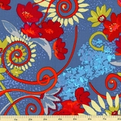 Katharine's Wheel Cotton Fabric - Turquoise PWNW021