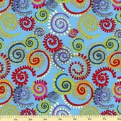 Katharine's Wheel Spinning Cotton Fabric - Turquoise PWNW028