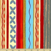 Katharine's Wheel Stripe Cotton Fabric - Red PWNW024