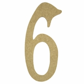 Kelly Fiberboard Wood Number 6in. - 6