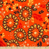 Kennedy's Garden Floral Cotton Fabric - Saffron
