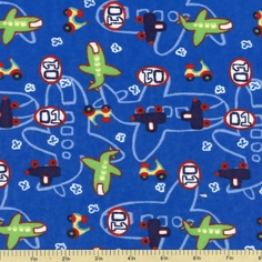Kid's Transportation Flannel Fabric - Blue 21517