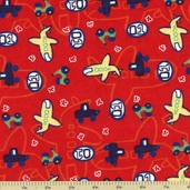 Kid's Transportation Flannel Fabric - Red 21517