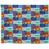 Kids Dinosaur Patch Flannel Panel Fabric - Brite