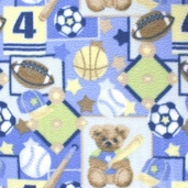 Kids/Novelty Fleece Polyester Fabric - All Boy's Sports - Blue