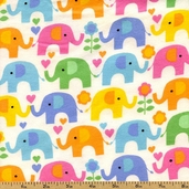 Kidz Elephant Flannel Cotton Fabric - White KIDZ-CF8637-WHITE