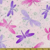 Kidz Glitter Dragonflies Cotton Fabric - Pink CM9902-PINK