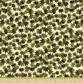 Kimono Cotton Fabric - Leaves - Cream - CLEARANCE