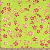 Kingston Brilliant Floral Cotton Fabric - Lime - CLEARANCE