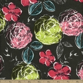 Kingston Urban Floral Cotton Fabric - Grey - CLEARANCE