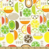 Kitchy Kitchen Cotton Fabric - Fruit Slices Coral