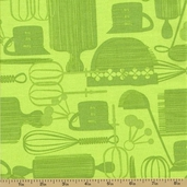 Kitchy Kitchen Cotton Fabric - Utensils Green