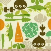 Kitchy Kitchen Cotton Fabric - Vegetable Garden - Linen