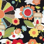 Knock Knock Cotton Fabric - Black
