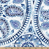 Kyani Medallion Cotton Fabric - Blue STELLA-153-BLUE