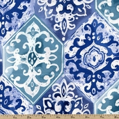 Kyani Tiles Cotton Fabric - Blue STELLA-148-BLUE