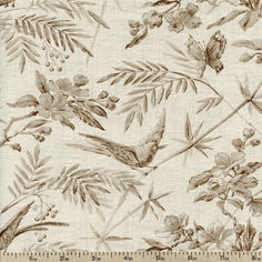 La Belle Fleur Bird Collage Cotton Fabric - Pearl 13630-17