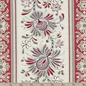 La Belle Fleur Floral Clochette Cotton Fabric - Pearl 13638-17