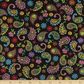 La Celebracion Fiesta Paisley Cotton Fabric - Black