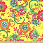 La Celebracion Las Flores Cotton Fabric - Yellow