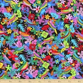 La Celebracion Pajaros Cotton Fabric - Black