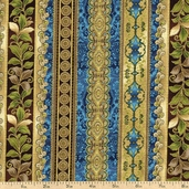 La Scala 3 Stripe Cotton Fabric - Peacock ETJM-11426-78 PEACOCK