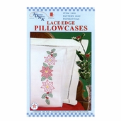 Lace Edge Pillowcases - Poinsettias