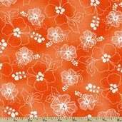 Lacey Hybiscus Cotton Fabric - Coral 691-851-B