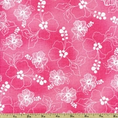 Lacey Hybiscus Cotton Fabric - Pink 691-849-B