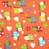 Lady Bug Fleece Fabric - Orange