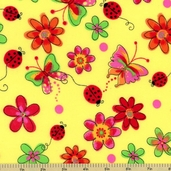 Lady Bug Power Flannel Cotton Fabric - Yellow