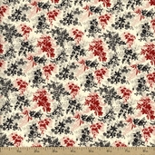 Lady in Red Floral Bouquet Cotton Fabric - Cream 1206011