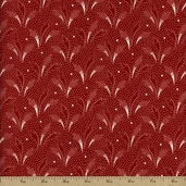 Lady in Red Leaf Dot Cotton Fabric - Red 1206022