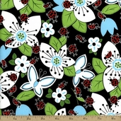 Ladybugs, Ladybugs Large Floral Cotton Fabric - Black 3763-8930L-8