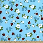 Ladybugs, Ladybugs Small Flowers Cotton Fabric - Blue 3763-8932-2