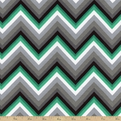 Laguna Jersey Prints Blend Chevron Fabric - Emerald