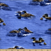 Lakeside Ducks Cotton Fabric - Blue
