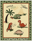 Land O' Dinos Cotton Fabric  Panel - Cream - CLEARANCE