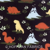 Land O' Dinos Cotton Flannel Fabric - Black - CLEARANCE