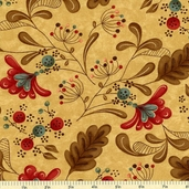 Late Bloomers Cotton Fabric - Tan 17621-11