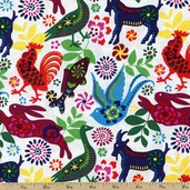 Latin Flare Animals Cotton Fabric - White DT-2893-2C
