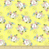 Lazy Daisy Baskets Cotton Fabric - Daisy Dot - Yellow