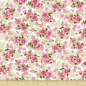Lazy Daisy Baskets Cotton Fabric - Daisy Toss - Pink