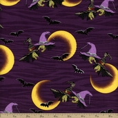 Legend Of Webb Hill Witches Cotton Fabric - Purple