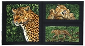 Leopards Leopard Panel Cotton Fabric - Black 3700-8587-8