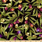 Les Olives Branches Cotton Fabric - Black DC5353-BLAC-D