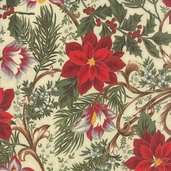 Let It Glow Poinsettias Cotton Fabric - Cream