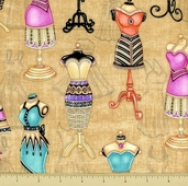 Lil' Miss Sew and Sew Cotton Fabric - Dress Forms - Cream