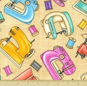 Lil' Miss Sew and Sew Cotton Fabric - Sewing Machine Toss - Cream