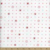 Lil Red Sweet Hearts Cotton Fabric � Pink Cloud